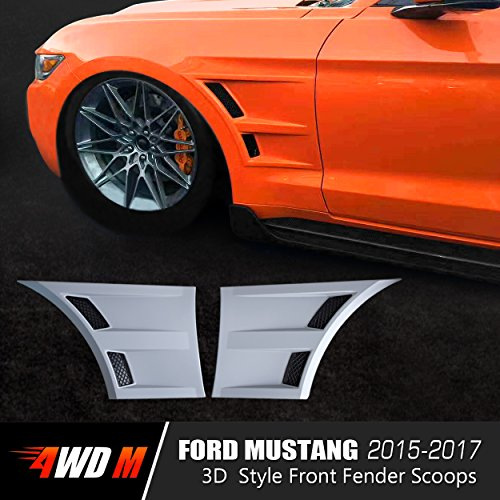 4WDMUSCLE Racing Style Front Fender Scoops with Double GT Style Air-Vents for Ford Mustang 2015 2016 2017 - Pair
