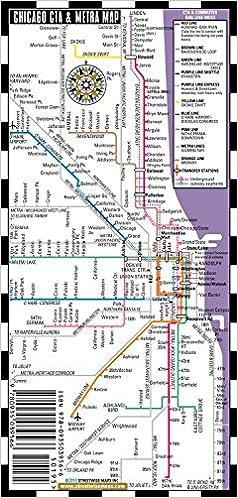 Streetwise Chicago Bus CTA Metra Map Laminated Chicago Metro