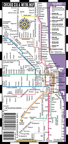 Streetwise Chicago Bus, CTA & Metra Map - Laminated Chicago Metro Map - Folding pocket & wallet size metro map for travel