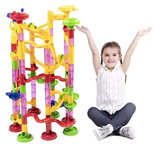 Super Marble Run Set by BloxBerry - Build and Learn Colorful Maze for Kids and Family Fun - Glass Marbles - Play Independent or with Friends. - Unlocks Creativity - Challenging Playset -
