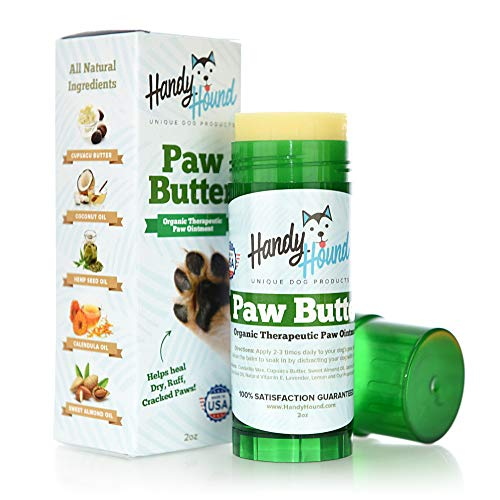 Shield Almond Handy - Handy Hound Paw Butter Dog Paw Balm Made from The Finest All-Natural Waxes, Oils, and Butters to Heal and Protect Dry, Rough, Chapped, Cracked Paws & Snout. The Wax Protects from The Snow and Ice.