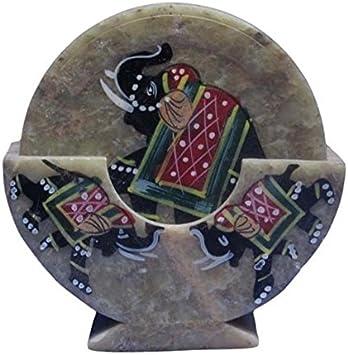 Purpledip Stone Coaster Set With Folk Artist Painting; Unique Indian Gift Memorabilia Souvenir 10594