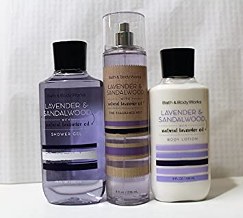Bath and Body Works LAVENDER SANDALWOOD natural lavender oil Shower Gel, Body Lotion, Fine Fragrance Mist Daily Trio