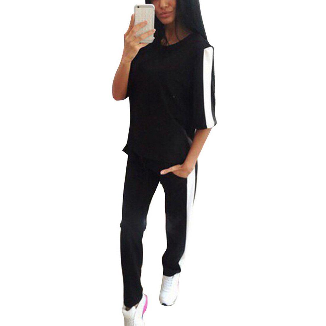 Dihope Damen Sportbekleidung Set aus 3/4 Ärmel Pullover mit Sport Hose Outfit Yoga Jogginganzug Trainingsanzug