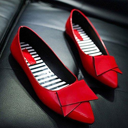 Zapatos De Mujer, Zapatos De Punta Casuales De Woopower Con Punta En Los Mocasines Zapatos De Trabajo Rojos