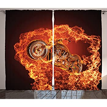 Ambesonne Manly Curtains, Chopper Bike Bursting Through Fire Motorbike Motorcycle Dangerous Sport Art, Living Room Bedroom Window Drapes 2 Panel Set, 108