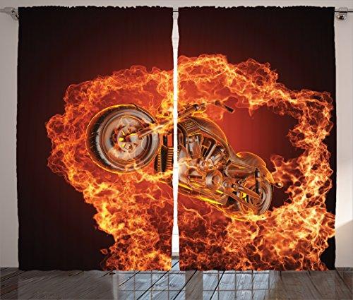 Ambesonne Manly Curtains, Chopper Bike Bursting Through Fire Motorbike Motorcycle Dangerous Sport Art, Living Room Bedroom Window Drapes 2 Panel Set, 108 W X 84 L Inches, Orange Marigold