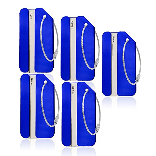 Aluminum Luggage Tag for Luggage Baggage Travel Identifier By CPACC (Blue 5PCS) ()