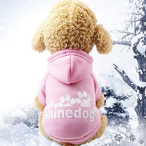 Glumes Pet Clothes, Puppy Hoodie Sweater Dog Coat Warm Sweatshirt Shine Dog Printed Shirt for Small Dog Medium Dog Or Cat (S, Pink)
