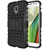 eCosmos || Moto E3 Power Defender || Case for Dual Layer Tough Rugged Shockproof Hybrid Warrior Armor Case Back Cover With Kickstand / Black
