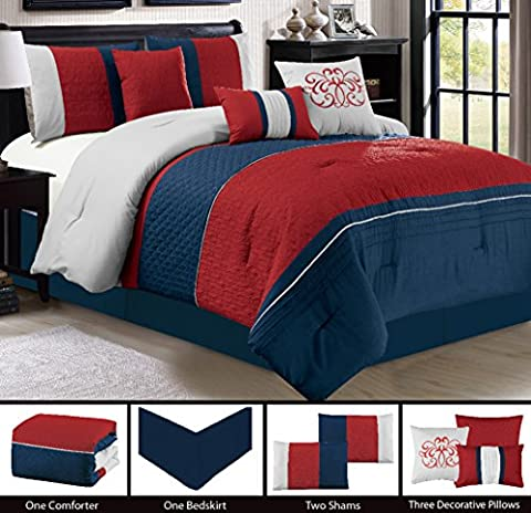 Modern 7 Piece Bedding BURGUNDY RED, NAVY, GREY Pin Tuck and Embroidered Embossed (California) Cal King Comforter Set with accent pillows