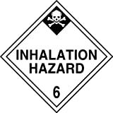Accuform Signs MPL603VP25 Plastic Hazard Class 6 DOT Placard, Legend ''INHALATION HAZARD 6'' with Graphic, 10-3/4'' Width x 10-3/4'' Length, Black on White (Pack of 25)