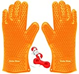 Kitchen Meister Silicone Oven, BBQ Grill, Cooking & Pot Holder Heat Resistant Gloves, Orange, Set of 2