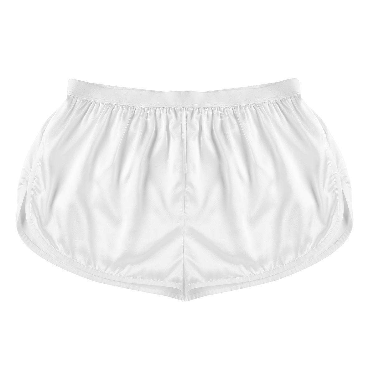 YiZYiF Men's Summer Silk Shorts Frilly Satin Boxer Briefs Casual Loose Underwear Ivory Medium(Waist 27.0-50.0''/69-126cm)