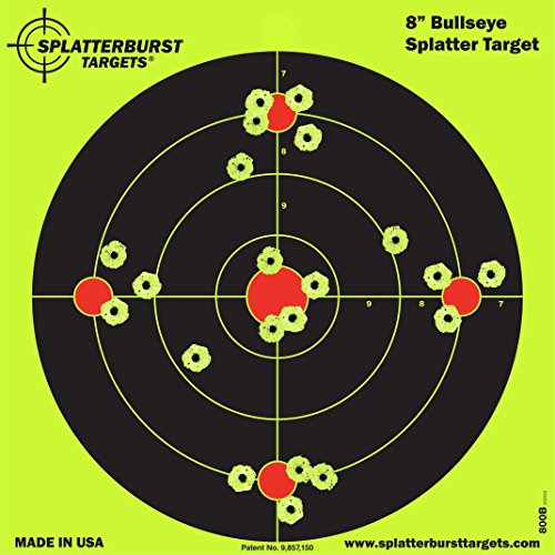 Splatterburst Targets - 8 inch Bullseye Reactive Shooting Target - Shots Burst Bright Fluorescent Yellow Upon Impact - Gun - Rifle - Pistol - Airsoft - BB Gun - Pellet Gun - Air Rifle (10 Pack)