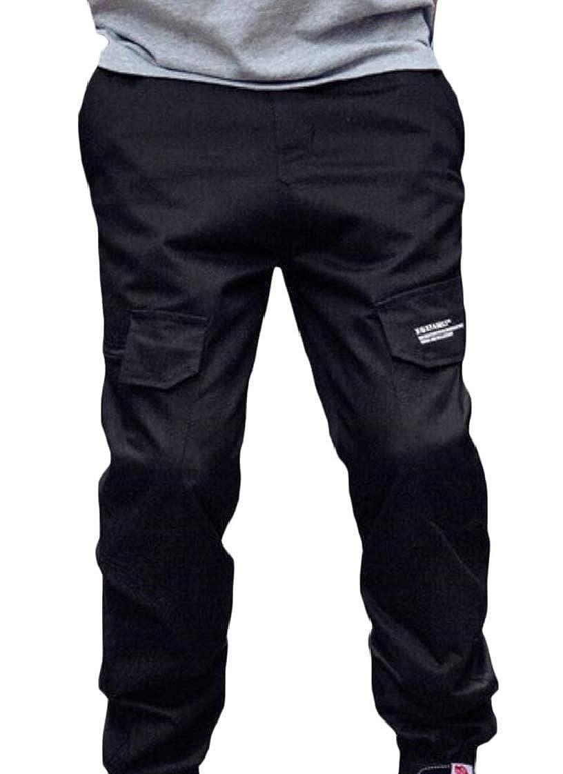 Pandapang Mens Active Trousers Multi-Pocket Simple Joggers Cargo Harem Pants