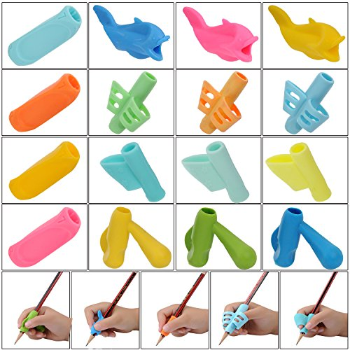 YUEAON 16 pack all purpose Pencil Grips for kids handwriting-Righties and Lefties-silicone Aid Grip Posture writing Correction device Tool holder claw for pen - Assorted Colors - School Tools