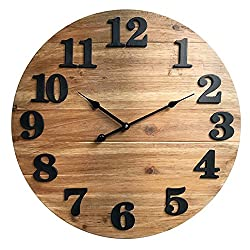 Better Homes Gardens Wood Planks Clock, Natural Stain Finish