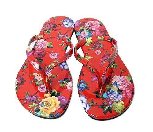 Kali Footwear Women's Focus Glitter Flip Flops (7 B(M) US, Red Flower)