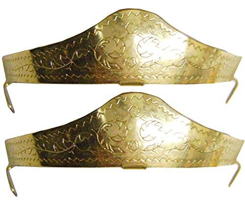 Modestone Pair Metal Heel Caps/Guards Western Filigree O/S Gold - Cowboy Boot Toe Caps