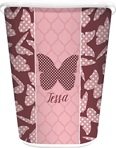 (RNK Shops Polka Dot Butterfly Waste Basket - Single Sided (White) (Personalized))