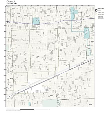 Amazoncom ZIP Code Wall Map of Cicero IL ZIP Code Map Not