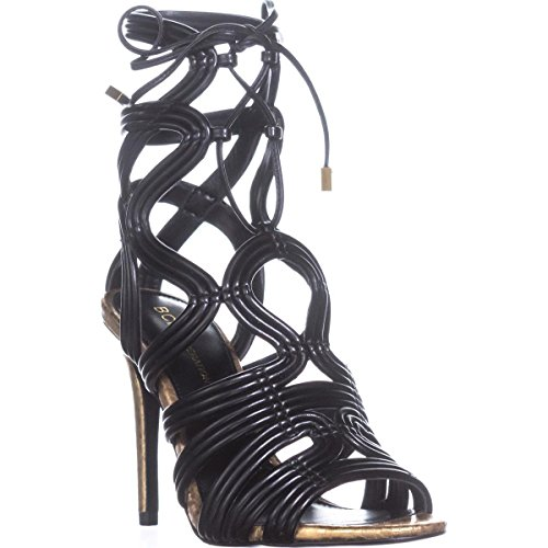 BCBGeneration Womens Jax Open Toe Special Occasion Strappy, Carbone, Size 5.5