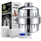 Homspal 10-Stage Shower Water Filter with 2 Cartridges - For Any Shower Head and Handheld Shower - Removing Chlorine, Heavy Metals and Sulfur Odor from Water