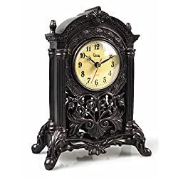 Antique Retro Decorative Table Mantel Clock, Resin Classic Figurine Sculpture Art Decorative Clock Home Decor Collection (European Antique)