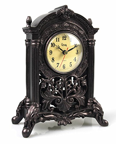 - Classic Antiqued Mantel Clock, Old Fashioned Retro Decorative Resin Table Clock Figurine Collection