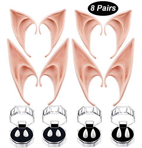 8 Pairs Cosplay Vampire Teeth Fangs and Latex Fairy Pixie Elf Ears for Halloween Costume Accessories Vampire Fangs Fake Denture Cosplay Party Props Halloween Party Fangs Favors -
