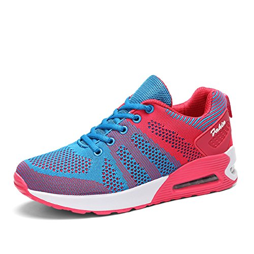 LILY999 Womens Air Cushion Mesh Running Trainers Athletic Walk Gym Shoes Casual Lightweight Jogging Sneakers Blue/Red ohDuBsJHb