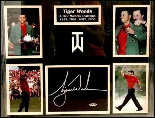 Tiger Woods Autographed Signed Framed & Matted Undated Masters Flag Coa Upper Deck Certified Autographed Pin Flags