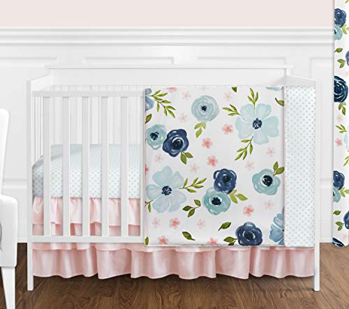 Sweet Jojo Designs Navy Blue and Pink Watercolor Floral Baby Girl Nursery Crib Bedding Set Without Bumper - 4 Pieces - Blush, Green and White Shabby Chic Rose Flower Polka Dot