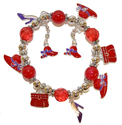 Charm Bracelet & Matching Earrings Set / Red Hat Ladies (Red Hat Society Charms)