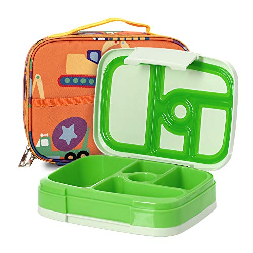 f3c669c63780 Kids Bento Lunch Box Set in Green w/Trucks Design Lunch Bag, 5 - Import It  All