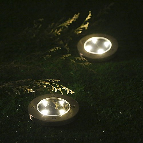 Tomshine 4pcs 4 led solar lights outdoor ground lights for In ground walkway lights