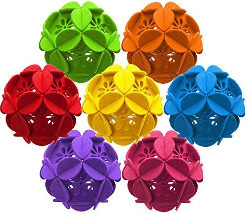 - Lucore Multi-Color Flower Petal 3D Puzzle Ornaments - 7 PCs Set of Home Decor Hanging Decorations, DIY Felt Art Craft Party Accents