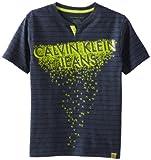 Calvin Klein Boys 8-20 Short Sleeve Slub Henley Logo Tee, Gray, Medium image