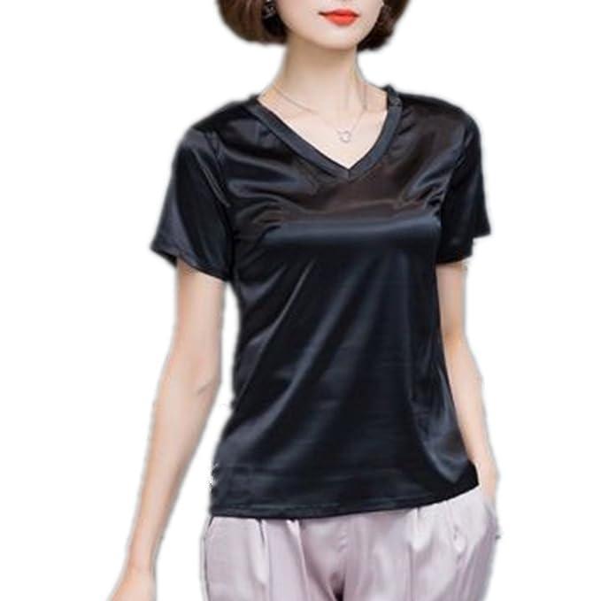 2c27702dbc7 YOUMU Women Faux Silk Satin Shirt V Neck Short Sleeve Blouse Summer Soft  Loose Top at Amazon Women s Clothing store