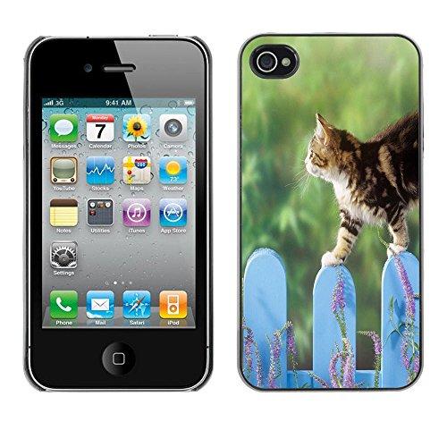 TaiTech / Case Cover Housse Coque étui - Cat Fence Cute Pet Nature Home Green - Apple iPhone 4 / 4S