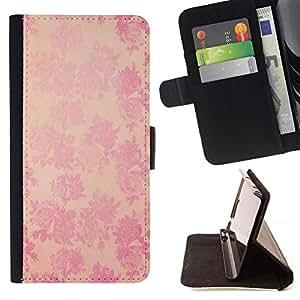 BullDog Case - FOR/Apple Iphone 4 / 4S / - / vintage rustic wallpaper pink floral pattern /- Monedero de cuero de la PU Llevar cubierta de la caja con el ID Credit Card Slots Flip funda de cuer