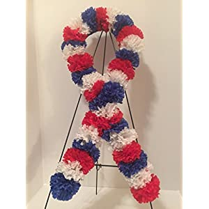 GRAVE DECOR - CEMETERY MARKER - FUNERAL ARRANGEMENT - VETERANS- US PRIDE RIBBON - RED, WHITE, BLUE CARNATIONS 92