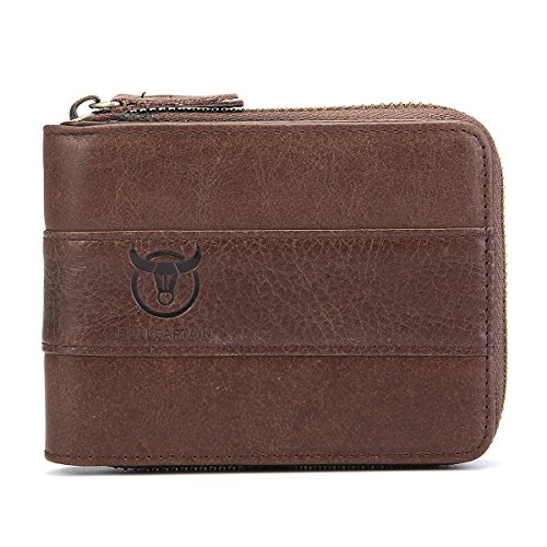 Mens Leather Wallet,E Ekphero Zipper Card Holder RFID Blocking Wallet Coins Purse by E Ekphero (Image #8)