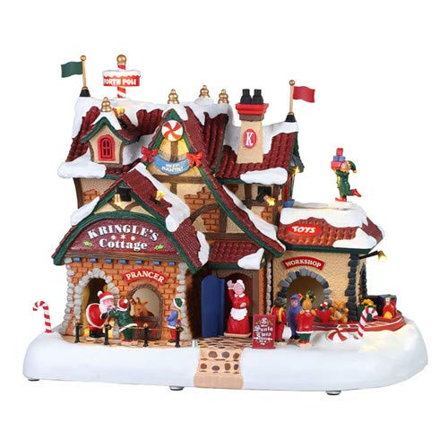 Lemax 95462 Kringle's Cottage, New 2019 Santa's Wonderland Village Sights & Sounds Collection, Polyresin Decorated Miniature Building & Figurines, X'mas Decor/Gift/Collectible, 9.45