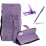 Strap Leather Case for Huawei P20,Bookstyle Magnetic [Light Purple Solid Color] Stand Flip Case for Huawei P20,Herzzer Premium Elegant Butterfly Tree Cat Print Fold Wallet Folio Smart Case For Huawei P20 + 1 x Purple Cellphone Kickstand + 1 x Purple Stylus Pen