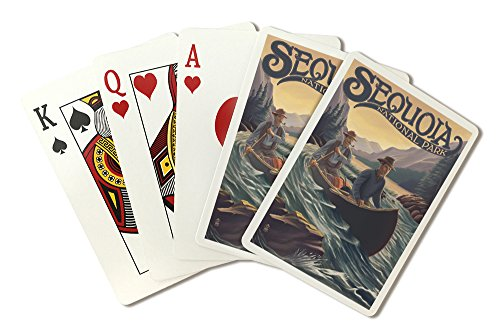 (Sequoia National Park - Canoe in Rapids (Playing Card Deck - 52 Card Poker Size with Jokers))