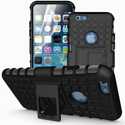 Apple iPhone 6 / 6S Outdoor Handy Tasche Schwarz Hybrid Case Schutz Hülle Panzer TPU Silikon Hard Cover Bumper I betterfon