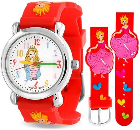 Bling Jewelry Girls Red Princess Cinderella Hearts Watch Steel Back 6.5in