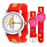 Bling Jewelry Girls Red Princess Hearts Watch Steel Back 6.5in